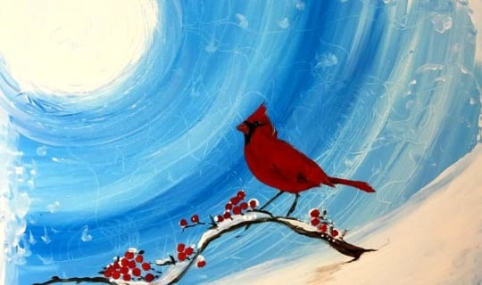 painting fundraiser - Cardinal in the snow