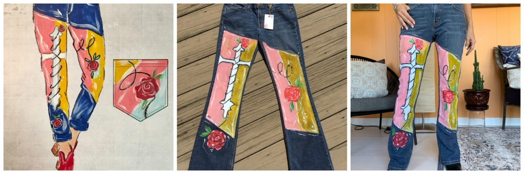 painted jeans cross and roses
